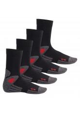 4 Paar Trekking-Socken mit Frotteesohle - Schwarz/Rot