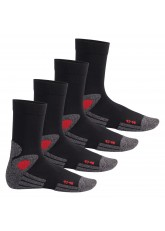 Celodoro Damen und Herren Trekking-Socken (4 Paar), Arbeitssocken mit Frotteesohle - Schwarz-Rot