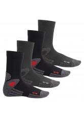 4 Paar Trekking-Socken mit Frotteesohle schwarz/rot & grau