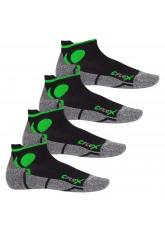 CFLEX Damen und Herren Running Funktions-Sneakersocken (4 Paar) Laufsocken- Schwarz-Grün