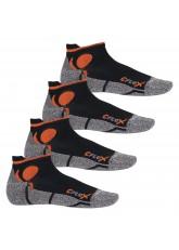 CFLEX Damen und Herren Running Funktions-Sneakersocken (4 Paar) Laufsocken- Schwarz-Orange