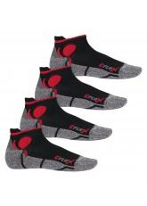 CFLEX Damen und Herren Running Funktions-Sneakersocken (4 Paar) Laufsocken- Schwarz-Rot
