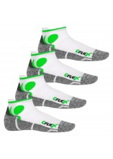 CFLEX Damen und Herren Running Funktions-Sneakersocken (4 Paar) Laufsocken- Weiss-Grün