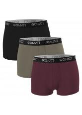 Gomati Herren Cotton Pants mit Logo (3er Pack), Retro Boxershorts aus Baumwoll-Stretch - Street