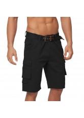 Gomati Herren Bermuda Cargo Shorts mit Gürtel aus Baumwoll Twill-Gewebe - Black