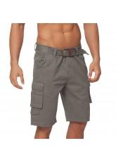 Gomati Herren Bermuda Cargo Shorts mit Gürtel aus Baumwoll Twill-Gewebe - Grau