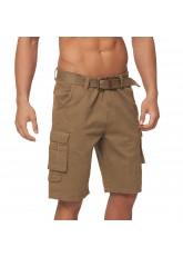 Gomati Herren Bermuda Cargo Shorts mit Gürtel aus Baumwoll Twill-Gewebe - Beige