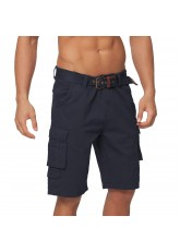 Gomati Herren Bermuda Cargo Shorts mit Gürtel aus Baumwoll Twill-Gewebe - Navy