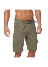 Gomati Herren Bermuda Cargo Shorts mit Gürtel aus Baumwoll Twill-Gewebe - Olive