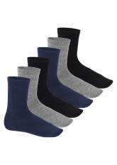 Feine Wollsocken - Business Socken für Damen und Herren - 6 Paar - schwarz/grau/blau