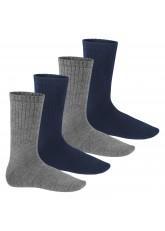 Warme Wollsocken - Thermo Socken für Damen und Herren - 4 Paar - blau/grau