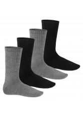 Warme Wollsocken - Thermo Socken für Damen und Herren - 4 Paar - schwarz/grau