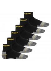 MT 6 Paar Arbeits- und Freizeit Kurzschaft-Socken schwarz-gelb