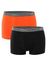 Celodoro Herren Pants Elastix (2er Pack), Stretch Boxer mit Melange-Webbund - Schwarz-Orange