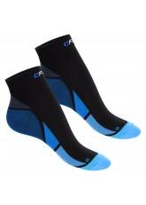 CFLEX Herren & Damen Sport Kompressionssocke (2 Paar), Kurzschaft Socken - Schwarz-Blau