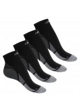 CFLEX Herren & Damen Sport Kompressionssocke (4 Paar), Kurzschaft Socken - Schwarz-Grau