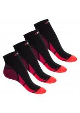 CFLEX Herren & Damen Sport Kompressionssocke (4 Paar), Kurzschaft Socken - Schwarz-Rot