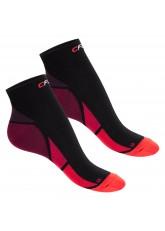CFLEX Herren & Damen Sport Kompressionssocke (2 Paar), Kurzschaft Socken - Schwarz-Rot