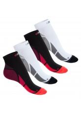 CFLEX Herren & Damen Sport Kompressionssocke (4 Paar), Kurzschaft Socken - Weiss-Grau und Schwarz-Rot Mix