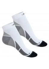 CFLEX Herren & Damen Sport Kompressionssocke (2 Paar), Kurzschaft Socken - Weiss-Grau