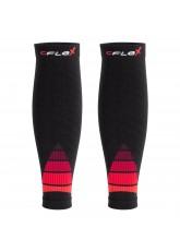 CFLEX Herren & Damen Sport Kompressions Stulpe (2 Paar), Wadenbandage - Schwarz-Rot