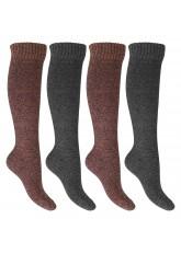 Footstar Damen Frottee Kniestrümpfe (4 Paar), warme Baumwollsocken mit Thermo-Effekt - Orange-Grau