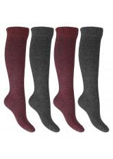 Footstar Damen Frottee Kniestrümpfe (4 Paar), warme Baumwollsocken mit Thermo-Effekt - Rot-Grau