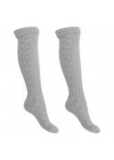 2 Paar Trachten Kniestrümpfe mit Umschlag, Socken für Damen und Herren von celodoro® in Grau Gr. 35-46
