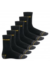 MT Herren Arbeits- und Freizeitsocken (6 Paar), Robuste Work Socken - Schwarz-Gelb