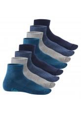 Footstar Damen & Herren Kurzschaft Socken mit Frottee-Sohle (8 Paar) - Sneak it! - Jeanstöne
